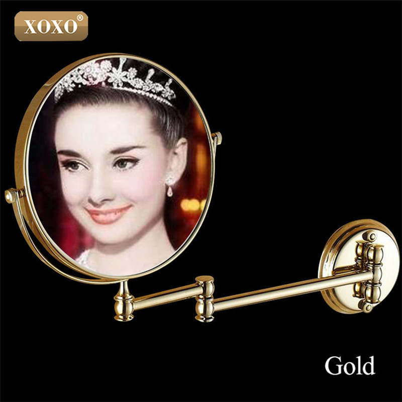 XOXO Antique/Golden8Double Side 1:1 and 1:3 magnifier Copper Cosmetic Bathroom Double Faced Bath Mirror wall mirror 7018B-7018G bakala dual makeup mirrors 1 1 and 1 3 magnifier copper cosmetic bathroom double faced bath mirror wall mirror br 6738