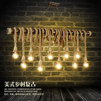 Rope chandelier 6 cafes bar clothing store creative retro industrial decoration LOFT personality
