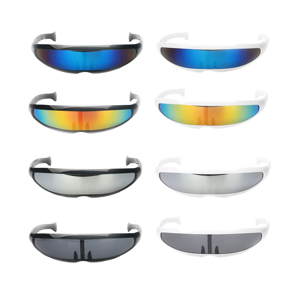 Colorful Women Shield Visor Sunglasses Retro Windproof Glasses Men Flat Top Hood Eyeglasses 4 Colors