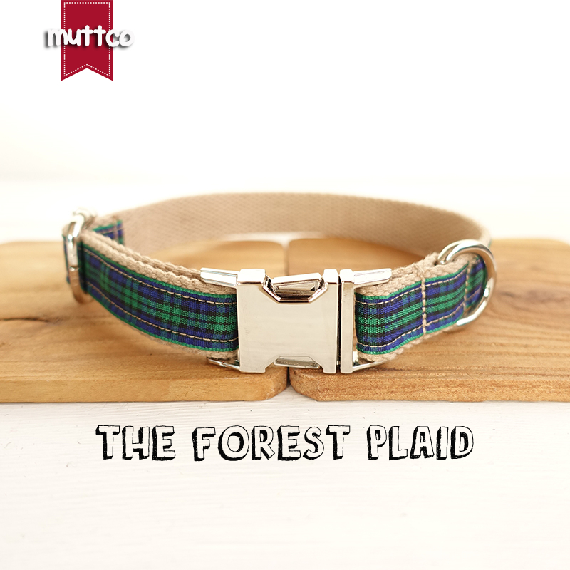MUTTCO menjual kerah gaya unik THE FOREST PLAID cotton dog collar leash set 5 ukuran UDC014