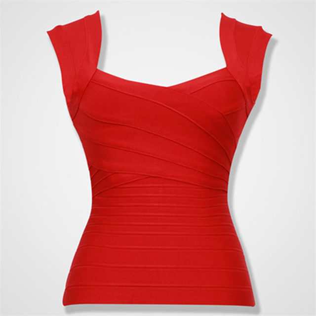 Free Shipping 2016 Women New Arrival Red Elastic Bandage Crop Top