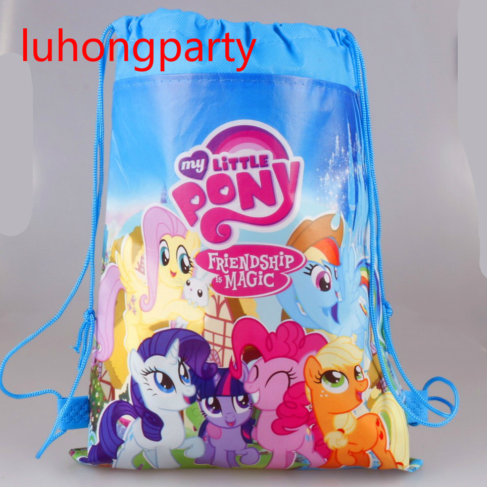 20pcs 34*27cm Little pony non-woven fabrics drawstring backpack,schoolbag,shopping bag ...