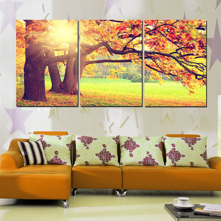 3 Piece Tree Large Wall Art Pictures Autumn Landscape Sunshine ...
