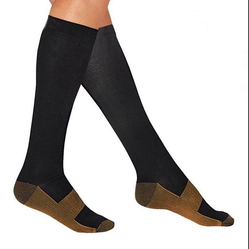 2 Pairs Men Crew Copper Fiber Long Socks Compression Pressure Stockings Outdoor Sports High Socks 15-20mmHg