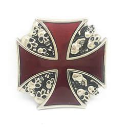 Винтаж Красный Железный крест череп пряжка на ремешке металлический зажим для ремня ремень Интимные аксессуары