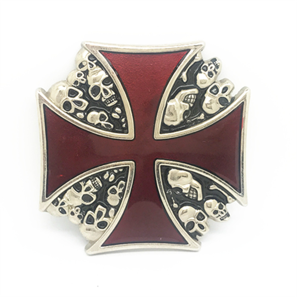 Vintage Red Iron Cross Skull Belt Buckle Metal Belt Clip Belt Accessories
