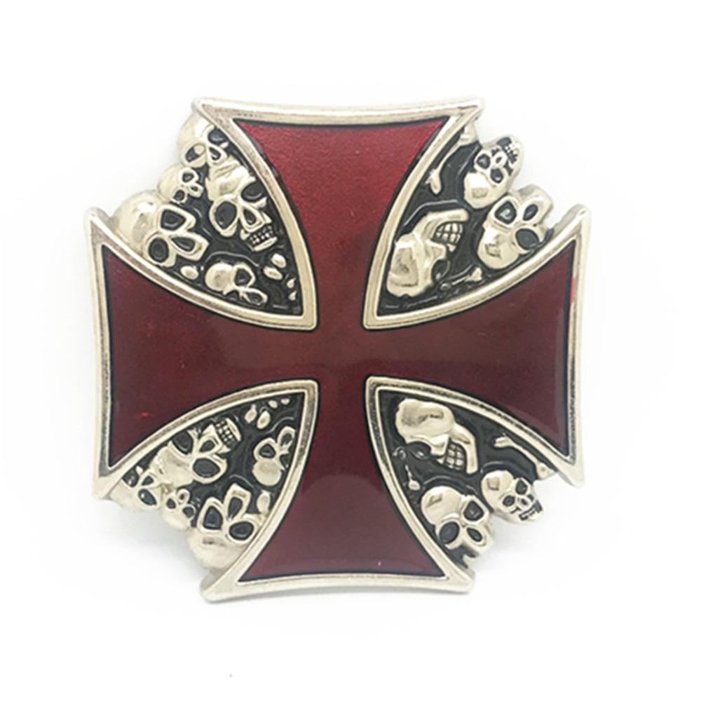 Vintage Red Iron Cross Skull Belt Buckle Metal Belt Clip Belt Accessories