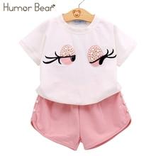 Humor Bear комплект одежды для девочек с бусинами милые топы для девочки с длинными ресницами+ штаны Костюм для девочки Детская одежда