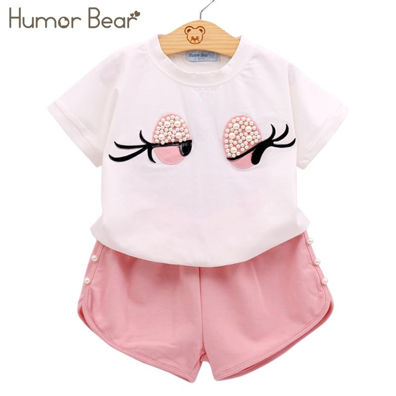 Humor urso meninas conjunto de roupas pérola meninas conjunto lindo longo cílios criança menina topos + calças meninas terno crianças roupas