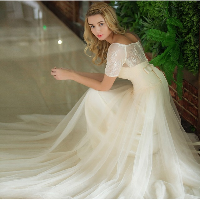 Inexpensive Short Lace Sleeves Country Wedding Dress In Champagne Color Boat Neck A Line Tulle Simple