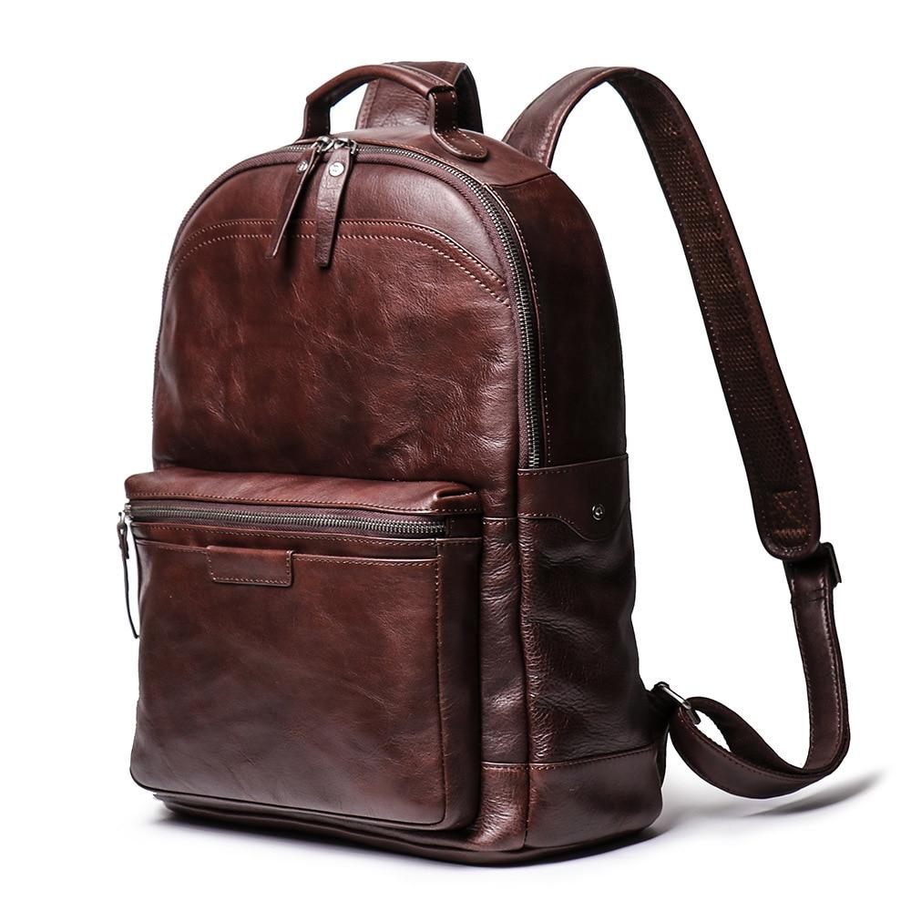 "Vintage Crazy horse leather Men Backpack Brown genuine cowhide leather women rucksack daypack 14"" laptop bags travel bag for man"