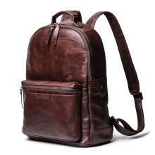 Vintage Crazy horse leather Men Backpack Brown genuine cowhide leather women rucksack daypack 14