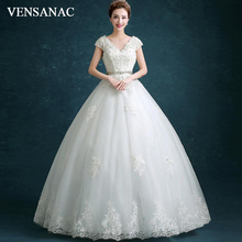 VENSANAC 2018 Sequined V Neck Ball Gown Crystal Sash Wedding Dresses Lace Appliques Short Cap Sleeve Backless Bridal Gowns
