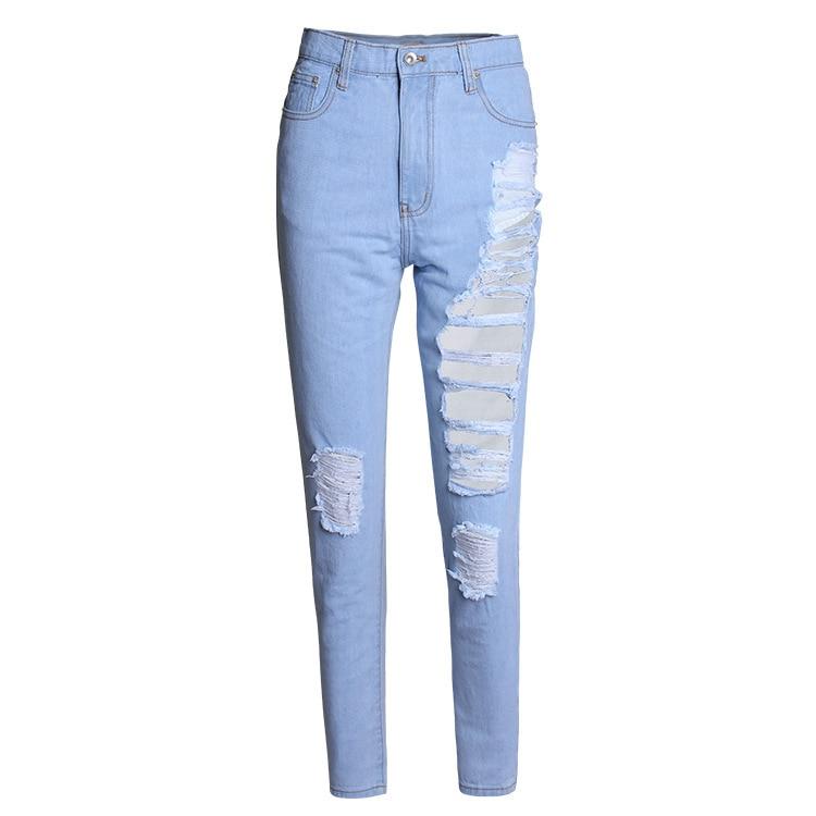 Womenu0026#39;s Super Distressed Denim Jeans In light blue Girls streetwear Loose straight pants-in ...