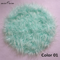 3Colors/Lot Diameter=56cm Tibet lamb Fur Round Cushion Blanket Newborn Baby Photography Props Basket Stuffer Filler Backdrops