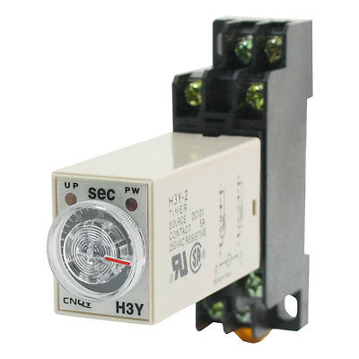 DC24V/DC12V/AC110V/AC220V  H3Y-2 DPDT 0-60 Seconds Power on Timer Time Delay Relay w Base Socket max 10s 12vdc h3y 2 power on 3a time delay relay solid state dpdt socket base