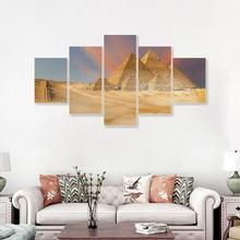 Laeacco Abstract Canvas Painting Pyramid Wall Art 5 Panel Places of Interest Posters Prints Nordic Home Living Room Decoration