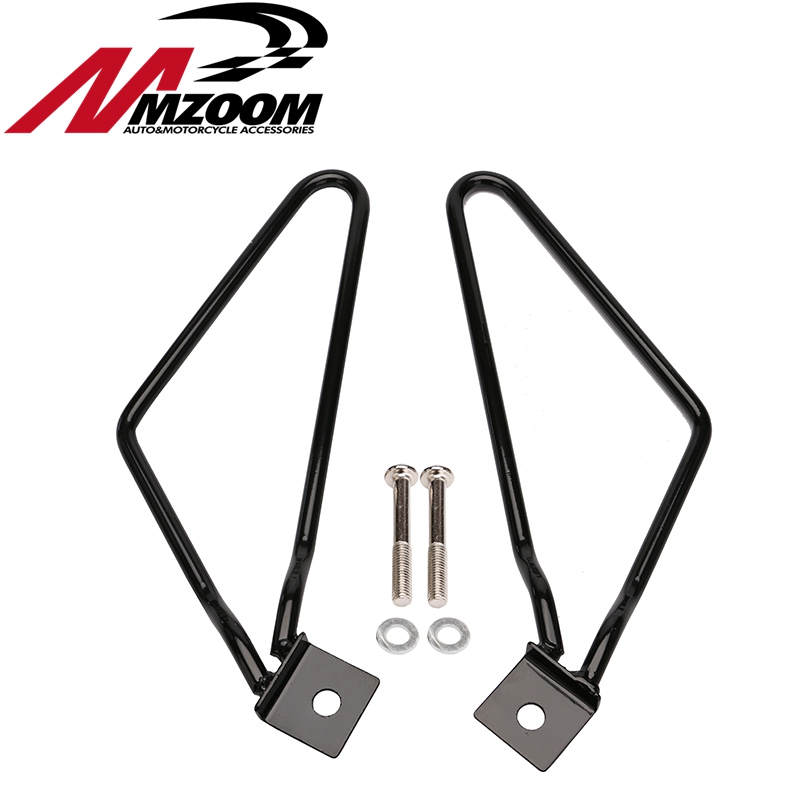 Motorcycle Saddlebag Support Bars Brackets For Sportster 883 Iron XL883N Dyna Fat Bob FXDF triclicks saddlebag bracket support motorcycle saddle bag support bars mount brackets for harley sportster iron xl883n dyna fat