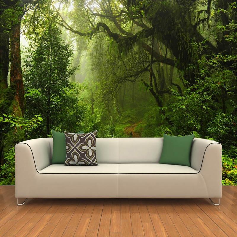 Kustom 3D Primeval Forest Dinding Mural Foto Wallpaper Pemandangan