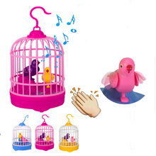 Novelty Funny Toy Voice Control Dialogue Interactive Mini Bird Cage Pet Induction Toy for Children Interest Development(China)
