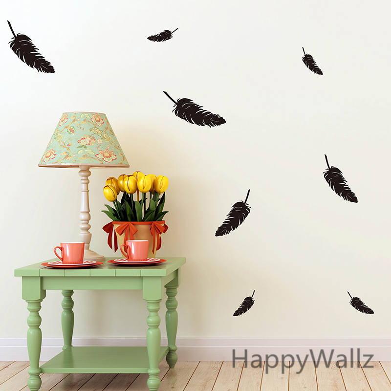 feather wall sticker feathers wall decal diy modern easy wall
