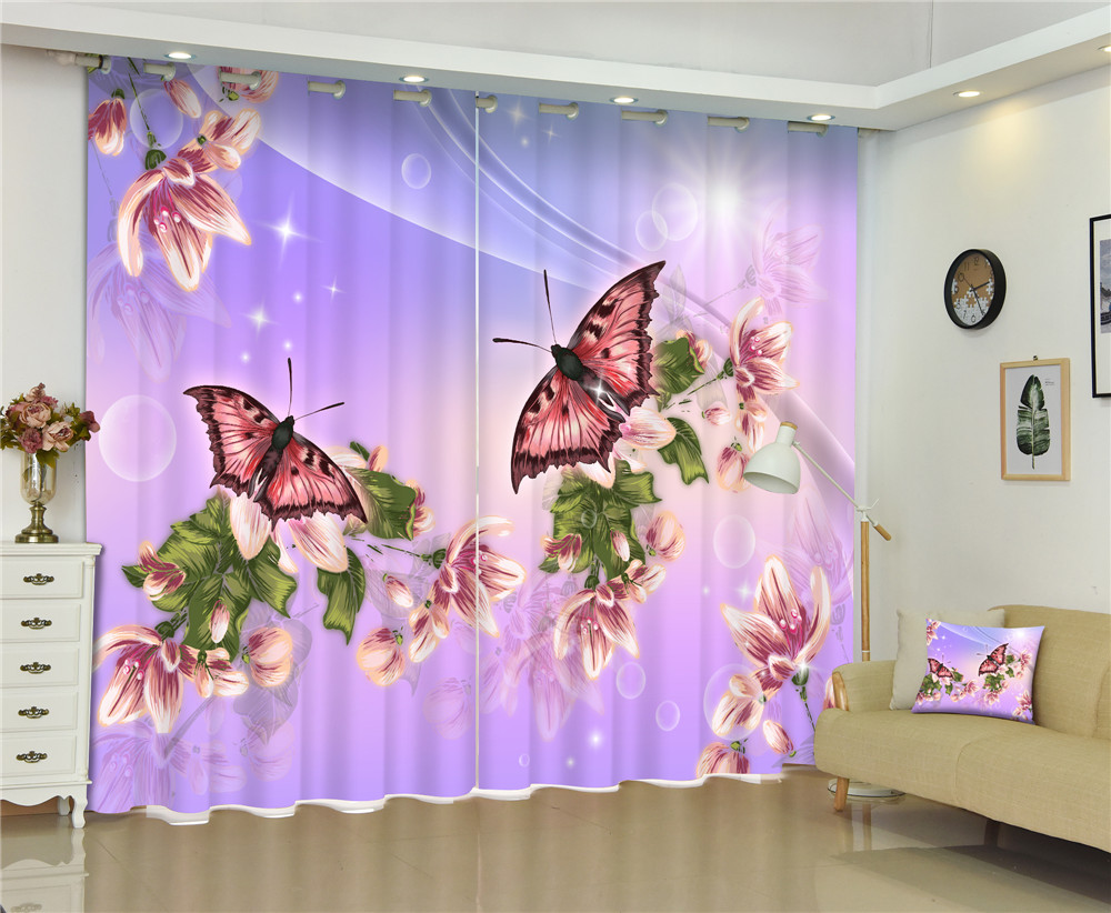 Violet Beautiful Butterflies Blackout 3D Curtain For Living Room Girl Bedroom Drapes Cortinas Rideaux Customized Size Pillowcase