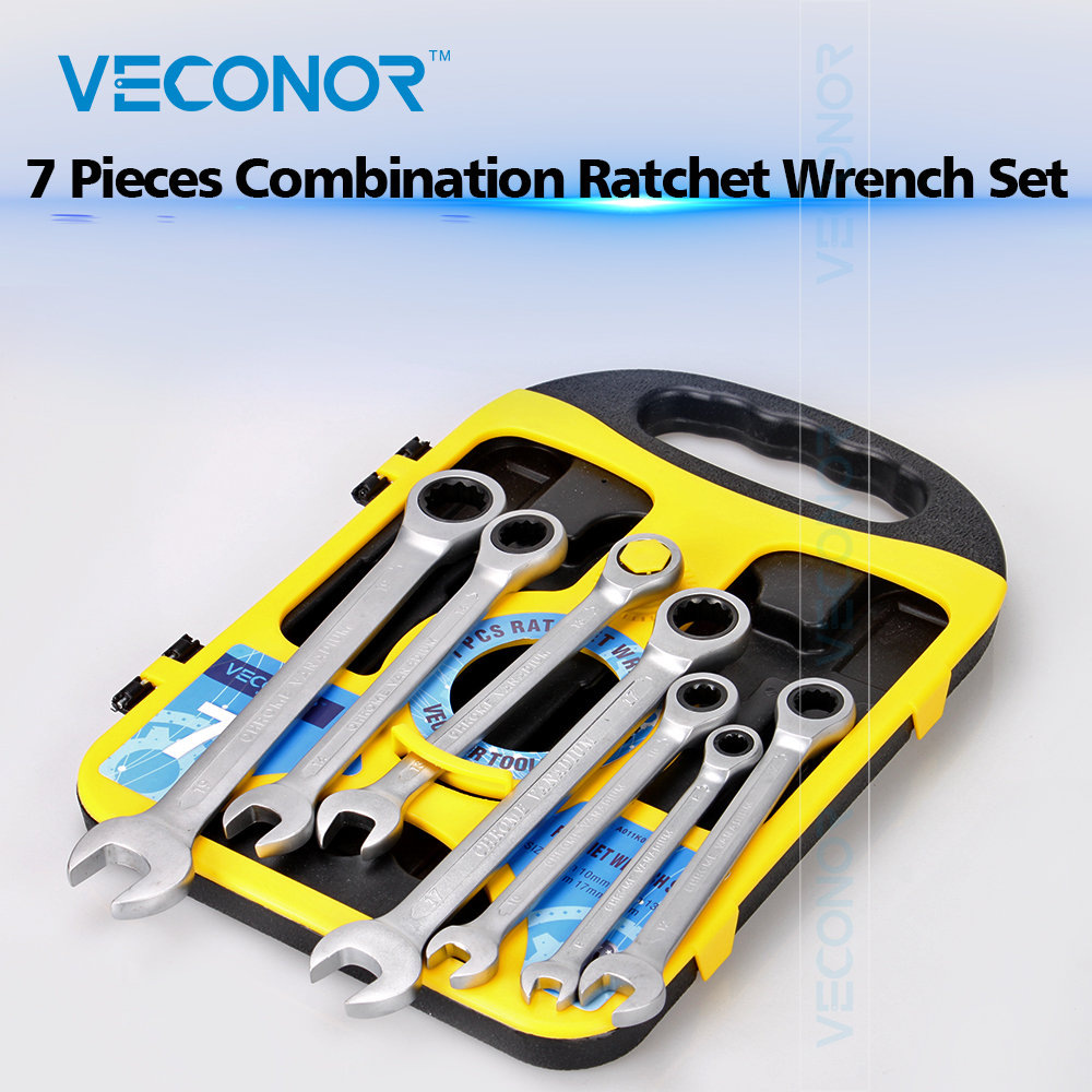 8-19mm 7PCS Ratchet Wrench Set of Keys Tools Combination Spanner Dull Polish CRV Steel High Torque With Inserted-designed Case berrylion 7pcs ratchet wrench spanner combination set 8 19mm open end torque spanner repair tools