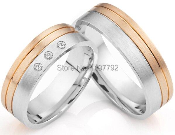 Di lusso su ordinazione di formato di design in oro rosa di colore titanium di fidanzamento promessa anelli