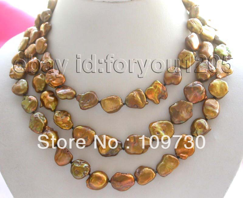 """Jewelry 00811 50"""" Natural Chocolate Reborn Keshi Pearl Necklace!"""