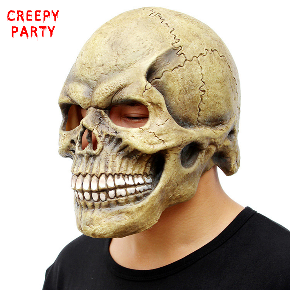 Scary Skull Mask Full Head Maschere di Halloween Realistico Latex Party Mask Orrore Cosplay Puntelli giocattolo
