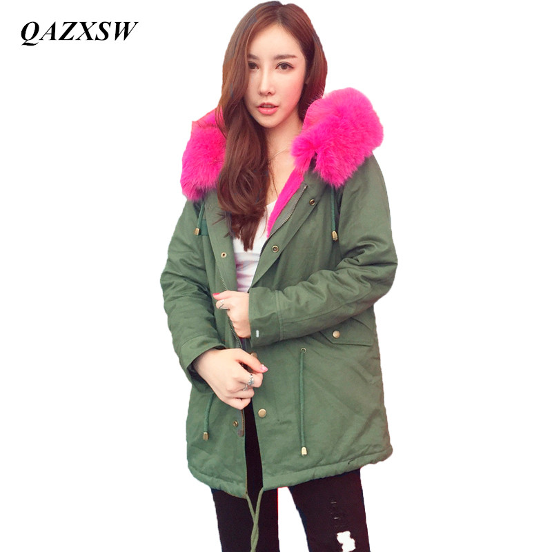 QAZXSW Women's Army Green Large Color Raccoon Fur Hooded Coat Parkas Outwear Long Detachable Lining Winter Jacket YX8821 zoe saldana 2017 winter jacket women detachable lining natural large fur hooded army green cotton coat outwear thick warm parkas