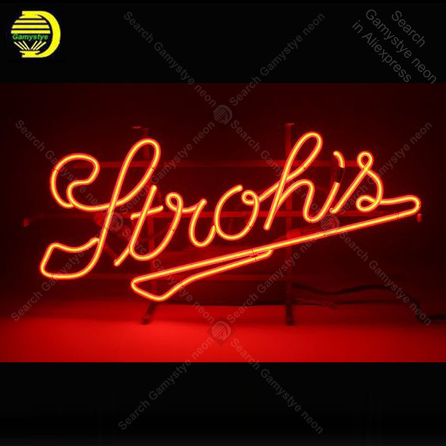 Neon sign For Stroh's Beer Neon Bulb sign  display Iconic Beer Pub Handcraft Lamp real glass advertise Letrero enseigne lumine