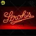 Неоновая вывеска для пивных неоновых ламп Stroh  знаковая пивная лампа ручной работы  Настоящая стеклянная реклама Letrero enseigne lumine