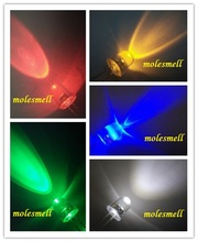 10pcs 8mm round water clear Red/yellow/blue/green/white LED Lamp -Ultra Bright diodes light lamp all color can be selected
