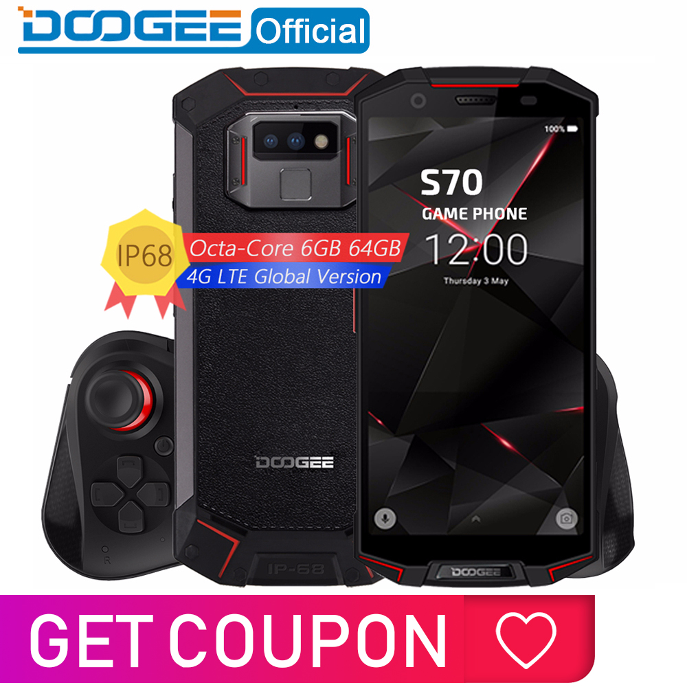 IP68/IP69K Waterproof DOOGEE S70 Game Phone Wireless Charge NFC 5500mAh 12V2A Quick Charge 5.99 FHD Helio P23 Octa Core 6GB 64GB