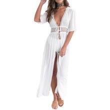 JIMMYHANK Fashion Women Summer Beach Dress Deep V Neck Lace Patchwork Split Chiffon Maxi