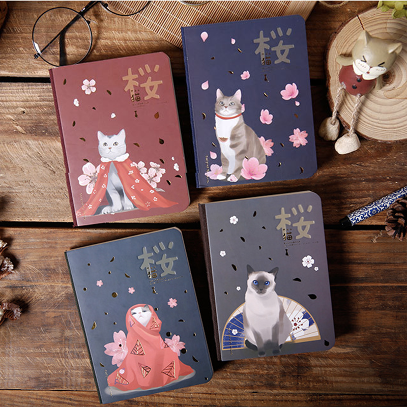 Kawaii Hardcover Cherry Blossom Cat Notepad High Quality