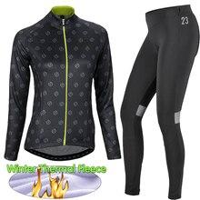 Womens Winter Thermal Fleece Cycling Set Long Sleeves Jerseys Ropa Ciclismo Clothing Bike Wear