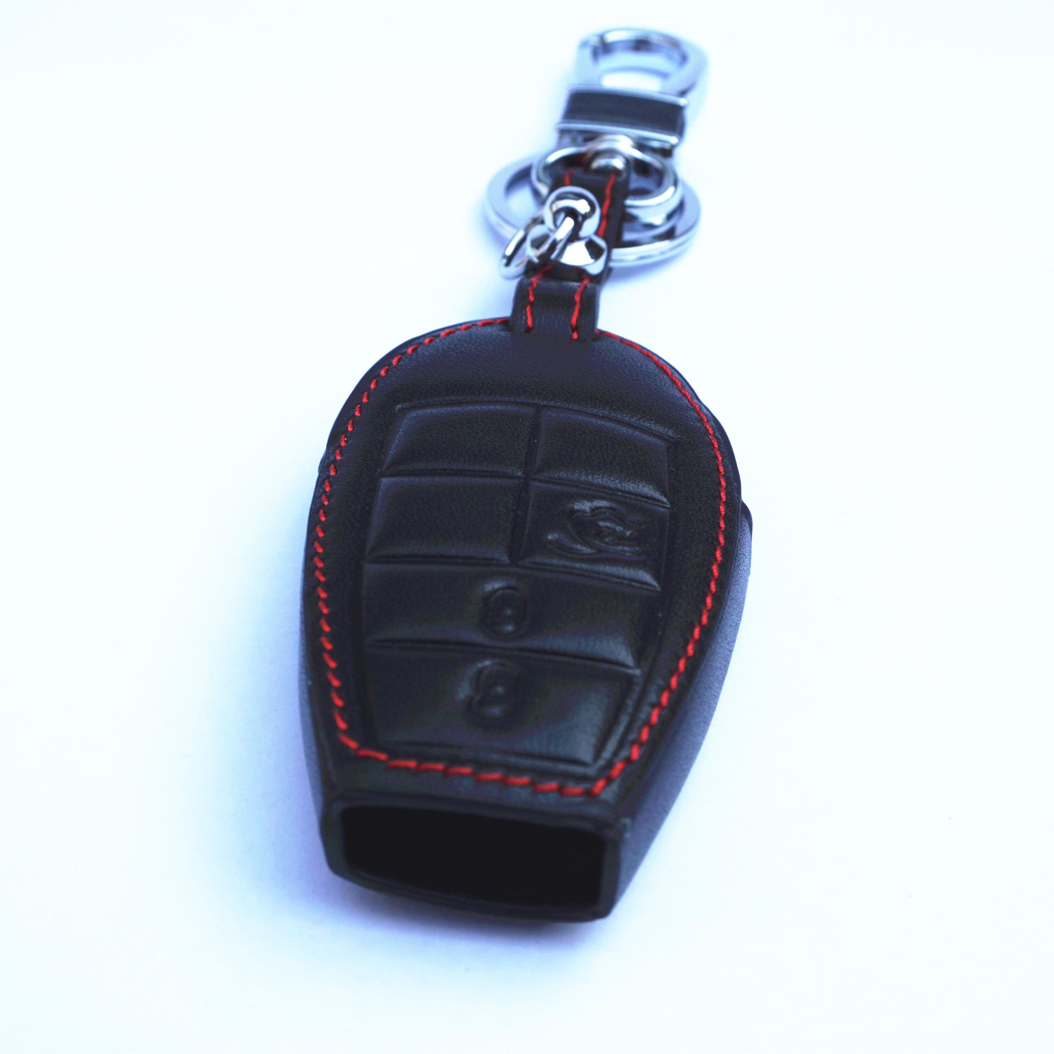 Chrysler Logo Black Leather Strap Key Chain Key-Ring iPick Image