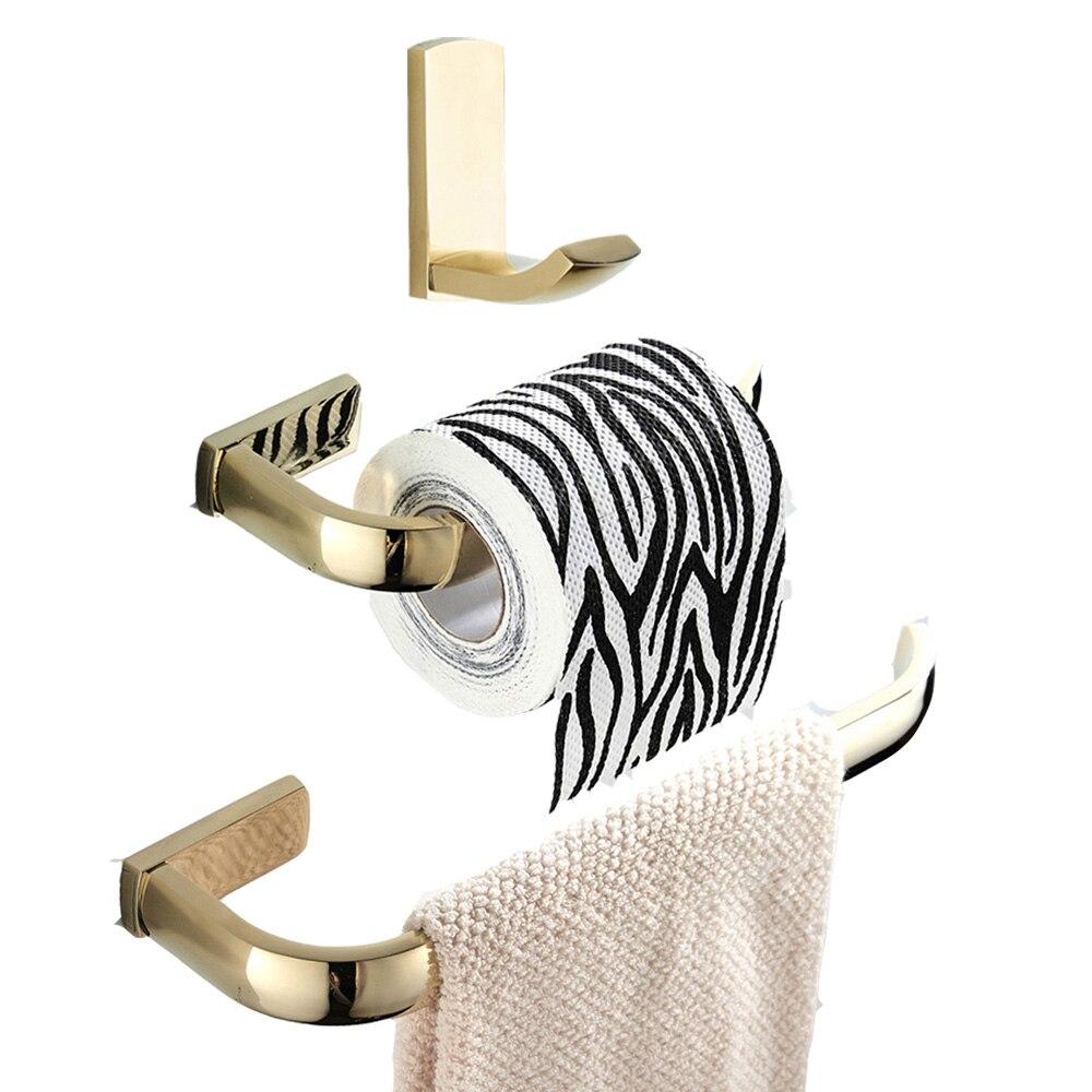 Click Here to Buy Now Leyden 3 piezas oro Pared de latón toalla anillo titular  papel higiénico titular ropa toalla gancho accesorios de baño Set en ... c1e57862f8bf