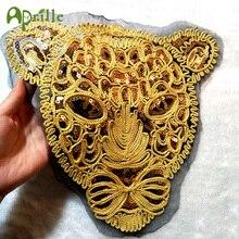 Горячие 3d большие золотые блестки голова тигра патч DIY Одежда нашивки для одежды пришить вышитый Леопард аппликация ремесла наклейки