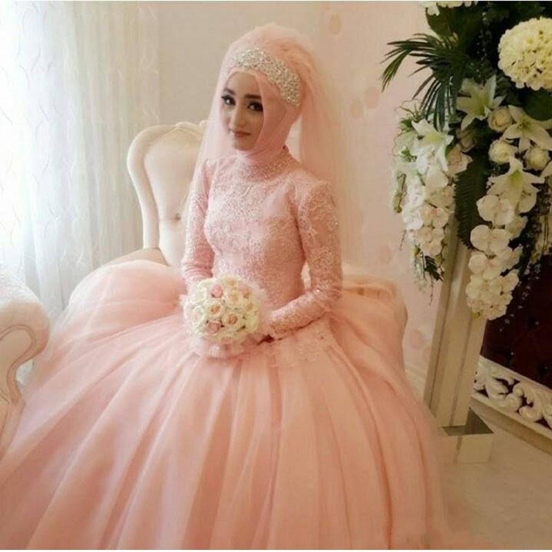vestido de noiva unique muslim wedding dresses arabic light peach bridal gowns high neck long sleeve