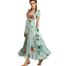 2017 Summer Women's Button Up Split Floral Print Flowy Party Maxi Bohemia Style Loose Leisure Dress D1