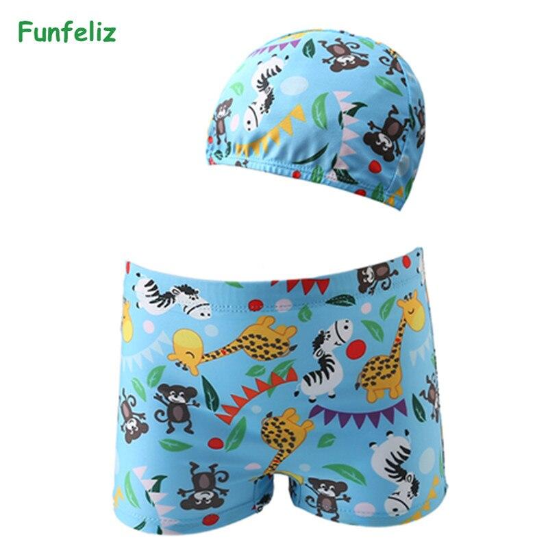 Funfeliz Baby Swimsuit Baby Boy Swimming Trunks Cute Pool boys swimwear kids Summer Cartoon Beachwear