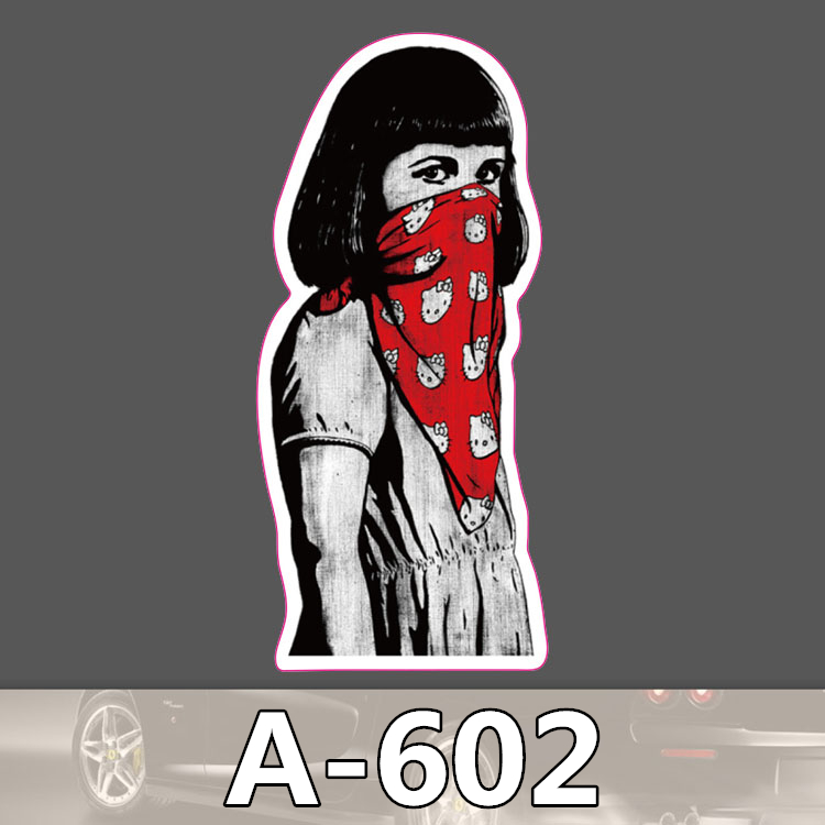 A 602 Masked Girl Waterproof Cool DIY Stickers For Laptop Luggage Fridge Skateboard Car Graffiti Cartoon