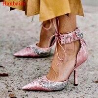 Hanbaidi Women PVC Pumps Luxury Rhinestone Ankle Buckle Strap Women High Heels Footwear Runway Party Wedding Waterproof Shoes 40