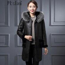 Ptslan Women s Genuine Lambskin Leather Coat Long Sleeve Long Winter New Jacket coats Thick Rea