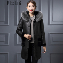 Ptslan Women's Genuine Lambskin Leather Coat Long Sleeve Long Winter New Jacket&coats Thick Rea