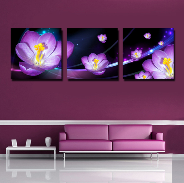 Home Wall Painting no frame 3 panel wall painting purple magnolia flower hd painting