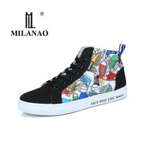 2017 MILANAO New Men S Floral Designs Skate Shoes Casual Flat Male Lacing Shoe Light Wearing